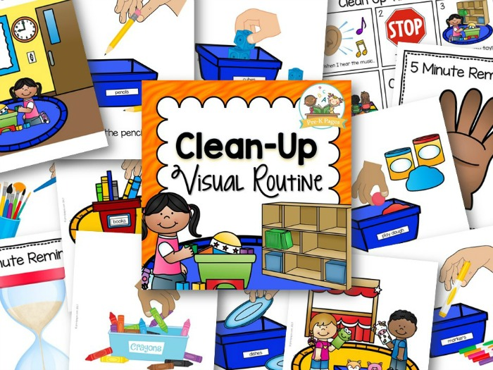 Clean Up Picture Prompts to help your students learn how to clean up in preschool