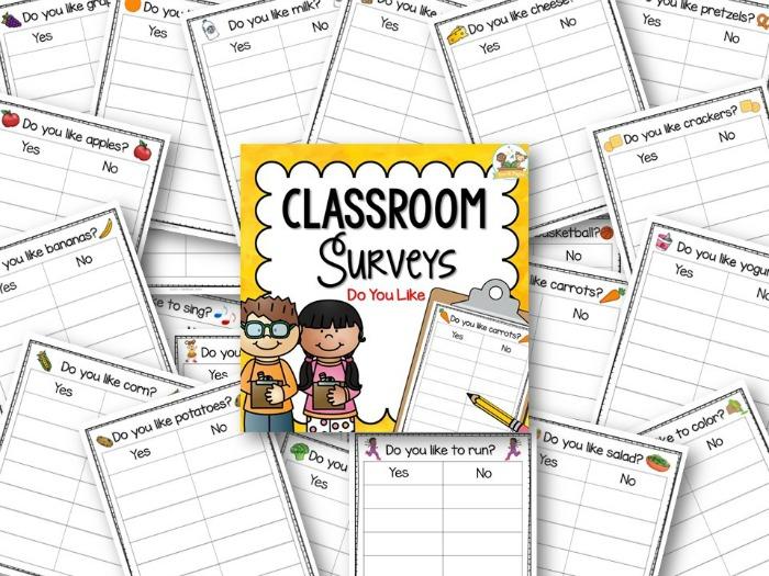 Printable Classroom Surveys for Preschool and Pre-K Classrooms