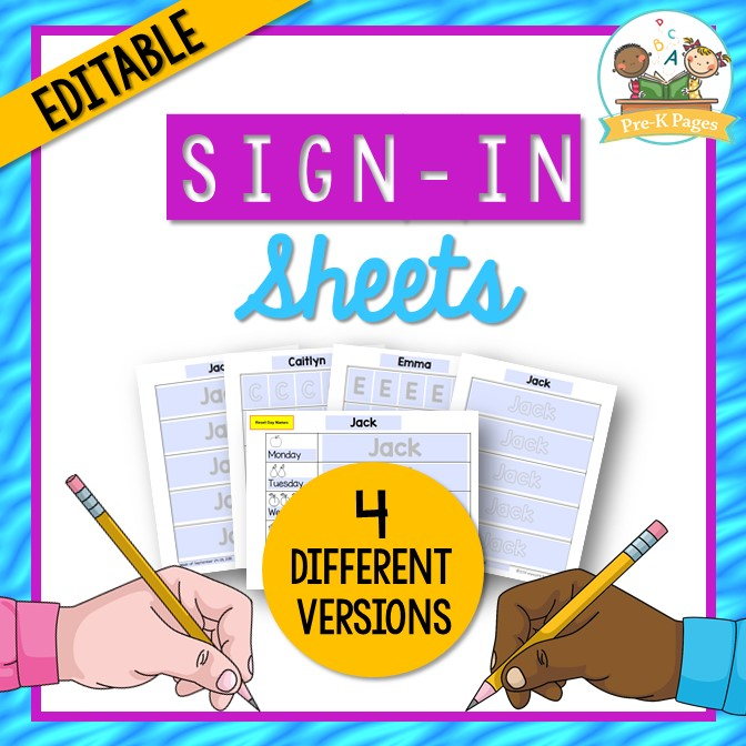 Editable Sign In Sheets for Preschool